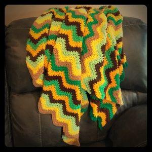 Vintage Handmade Crocheted Afghan Throw Blanket